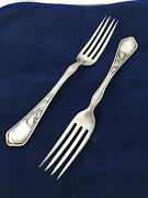 Vtg Lot Of 2 Iris Dinner Forks 1902 By Ehh Smith Chicago, Il Silverplate 7 3/8