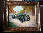 Framed Oil Painting After Gerald Coulson Bentley Car By G Leach