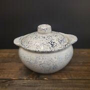 Vintage Western Stoneware Monmouth Blue And White Spongeware Bean Crock With Lid