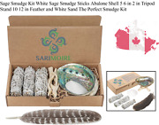 Sage Smudge Kit White Sage Smudge Sticks Abalone Shell 5 6 In 2 In Tripod Sta...
