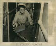 1950 Press Photo Fireboat Deluge Engineer Philip Brown Holding A Geiger Counter