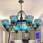 Pendant Light Stained Glass 9 Lights Ceiling Chandelier Hanging Lamp