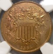 1864 Two Cent Piece Very Scarce Small Motto Choice Ngc Mint State 64 Unc Details