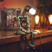 Pipe Steampunk Vintage Industrial Table Lamp Robot Water Iron Lighting Retro