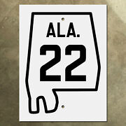 Alabama State Route 22 Highway Marker Road Sign 1934 Ala. Map