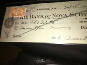 Bank Of Nova Scotia Check Amherst, Ns 1919 W/ 1 Cent Excise Stamp