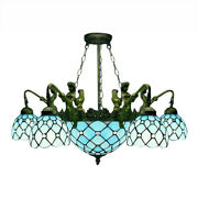 5-light Mermaid Armed Blue Stained Glass Style Chandelier Ceiling Light
