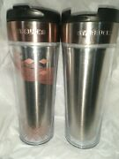 Lot Of 2 2011 Starbucks Doodle It 16oz Stainless Steel Coffee Tumbler