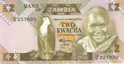 1986 2 Kwacha Bank Of Zambia Currency Unc Banknote Note Money Bill Cash Africa
