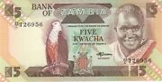 1986 5 Kwacha Bank Of Zambia Currency Unc Banknote Note Money Bill Cash Africa