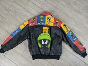 1990s Vintage Marvin The Martian Leather Jacket M All Over Looney Tunes Spacejam