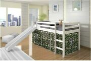 New Kids Bed Twin Size White Camo Tent Loft With Slide Easy To Assemble Sturdy