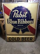 Vintage Outdoor Pabst Pbr Sign. And Cold Beer Panel. Large