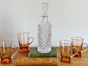 Vintage Heavy Cut Crystal Glass Decanter   Tall Handblown Round Whiskey Decanter