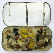 Vintage Fly Fishing Rubber Lure Frog Cricket Spider Lot With Flies Old Case 30+