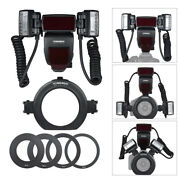 Yongnuo Macro Ring Flash Speedlite+2 Flash Head+4 Adapter Rings For Canon 5d 80d