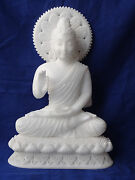 16 Buddha Carving Marble Carved Thai Amulet Statue White Jade Blessing Gift Art