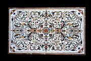 25x45 White Marble Dining Table Top Multi Stone Marquetry Inlay Art Decor W599