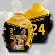 Kobe Bryant Lakers Los Angeles 24 Number Sign Pullover Zippered Hoodie 3d Print