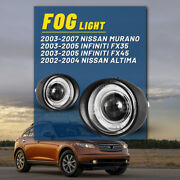 For 02-04 Nissan Altima 03-07 Murano Fog Lights Clear Glass Lens Halo Projector