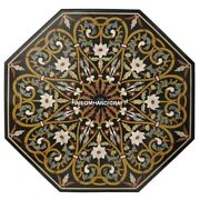 Black Marble Top Side Table Marquetry Inlay Excellent Arts Home Rare Decor H5140