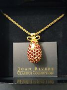Joan Rivers Gold Tone Chain Necklace 28and Faberge15 Egg Pendantandred Crystals
