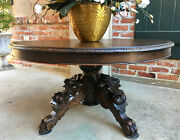 Antique French Carved Oak Hunt Coffee Table Renaissance Black Forest Oval