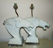 Pair Of Large White Table Lamps Horse Heads Blanc De Chine Mid Century Modern