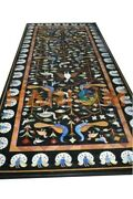 4and039x2and039 Marble Dining Table Top Lapis Precious Peacock Inlay Restaurant Decor B661