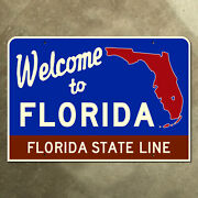 Florida State Line Highway Marker Road Sign 1959 Map Outline Lake Okeechobee 22