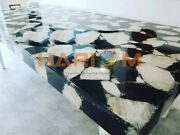 5and039x3and039 Black Agate Precious Stone Center Dining Table Top Hallway Decorative A100