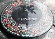 Black Marble Top Round Dining Table Carnelian Inlay Stone Floral Art Decor H3343