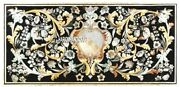 Scagliola Stone Marble Inlay Real Custom Table Top Black Outdoor Art Decor H3283