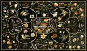 Marble Side Top Table Multi Birds With Floral Stone Fruits Inlay Art Decor H5098