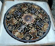 3and039x3and039 Marble Black Coffee Dining Table Top Marquetry Semi Precious Mughal Decor