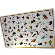Designer Butterfly With Multi Inlay Stone Marble Table Dining Art Decorate H3915
