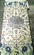 Marble Dining Table Inlay Abalone Stone Antique Collectible Art Rare Decor H3235