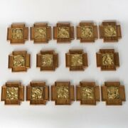 Set -14 Stations Of The Cross, Brass W/ Wood Backplates Church, Chalice Co.57