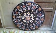 Marble Dining Round Table Top Inlaid Stone Mosaic Beautiful Handmade Decor H1976