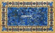 Black Marble Dining Table Lapis Random Stone With Mosaic Inlay Garden Arts H3878