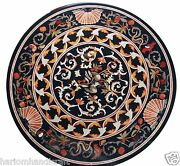 3and039x3and039 Marble Dining Center Table Top Semi Inlaid Marquetry Home Decor Arts H1511