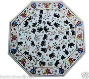 Size 30x30 Marble Coffee Side Table Top Elephant Inlay Mosaic Home Decor H1560