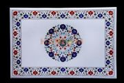 3and039x2and039 Tabletop With 14 Base Made From White Marble And Precious Inlay Stones W610