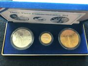 1988 Young Astronauts America In Space 3 Coin Set Gold And Silver Space Shuttle