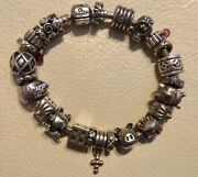 Pandora 925 Sterling Silver Bracelet With 24 Charms See Pics
