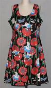 Cowcow Alice In Wonderland Characters Flowers Sleeveless Flare Dress Wm's 2xl
