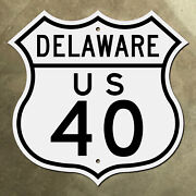 Delaware Us Route 40 Highway Marker Road Sign Shield Wilmington 1948