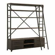 Wood And Metal Bookshelf With Built In Sliding Ladder Gray And Brown