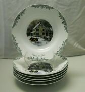 Museum Currier And Ives Thomas Series 6 Soup Bowls Four Star Intand039l 2000