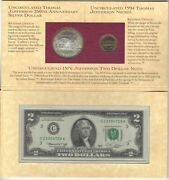 1993 Thomas Jefferson Coinage And Currency Set One Dollar 5 Cents And 2 Bill